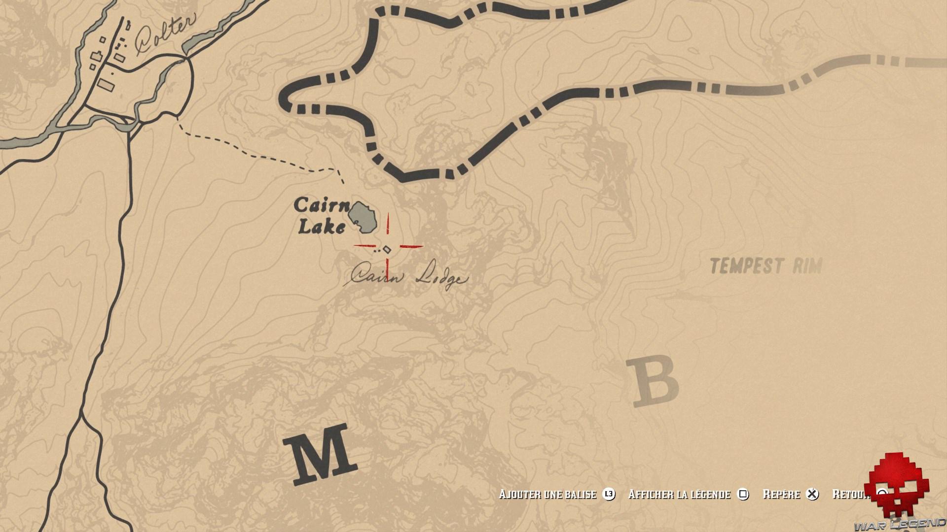 soluce red dead redemption 2 trésor de la piste empoisonnée carte Cairn Lake