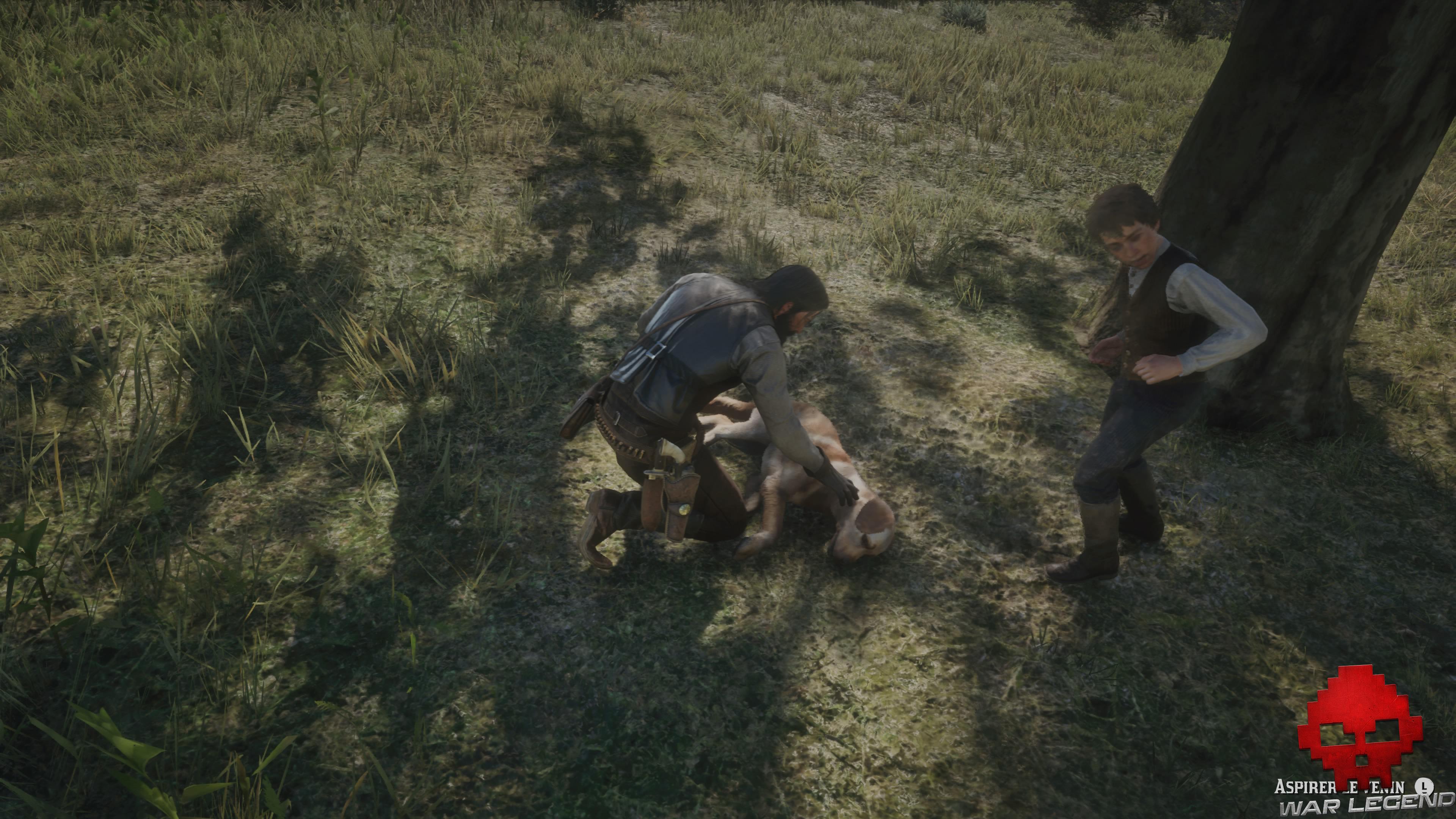 soluce red dead redemption 2 une autre chance john marston penché au-dessus de son chien