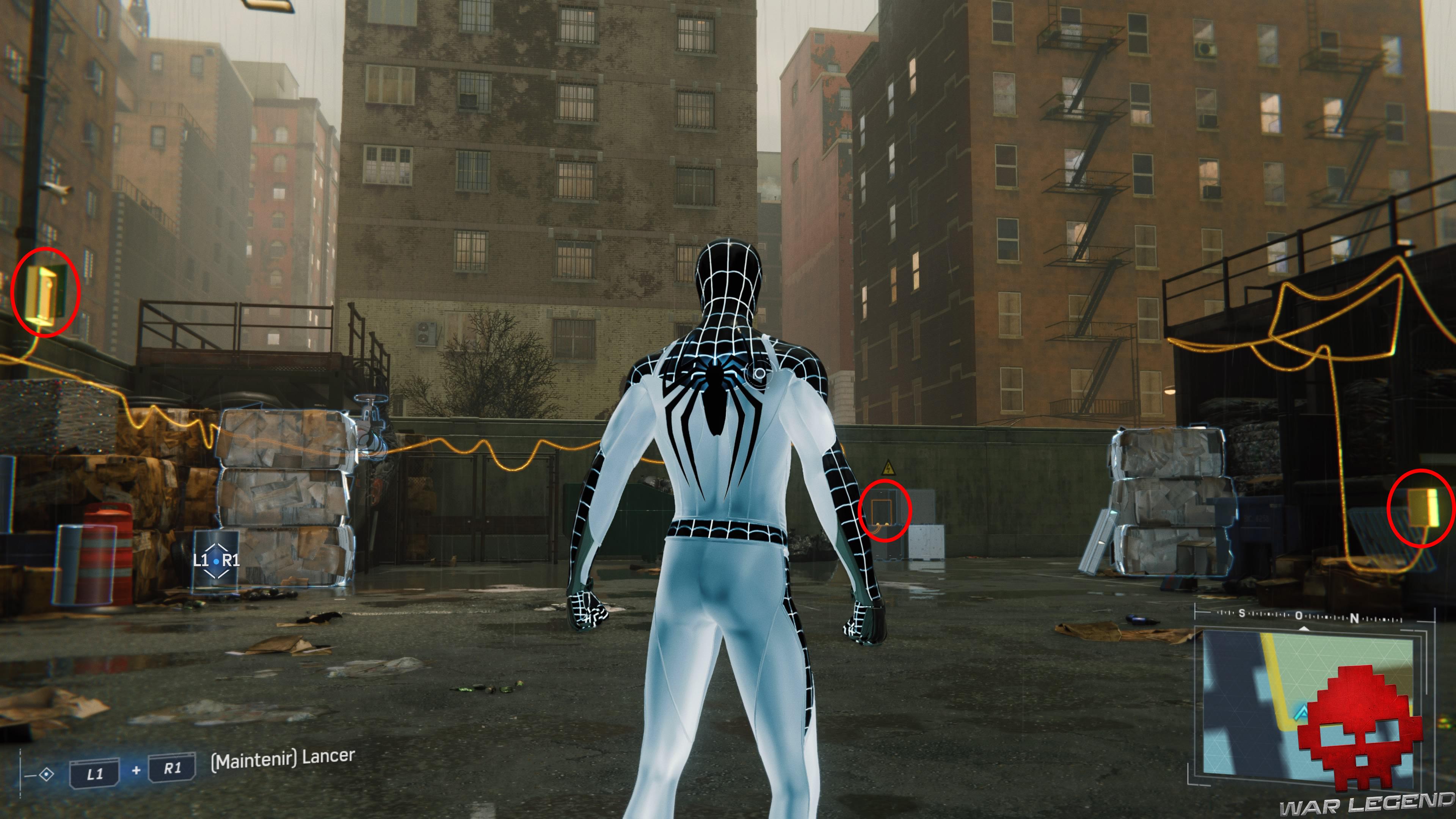 solution spider-man double jeu trois lignes de courant, boîtiers de dérivation entourés