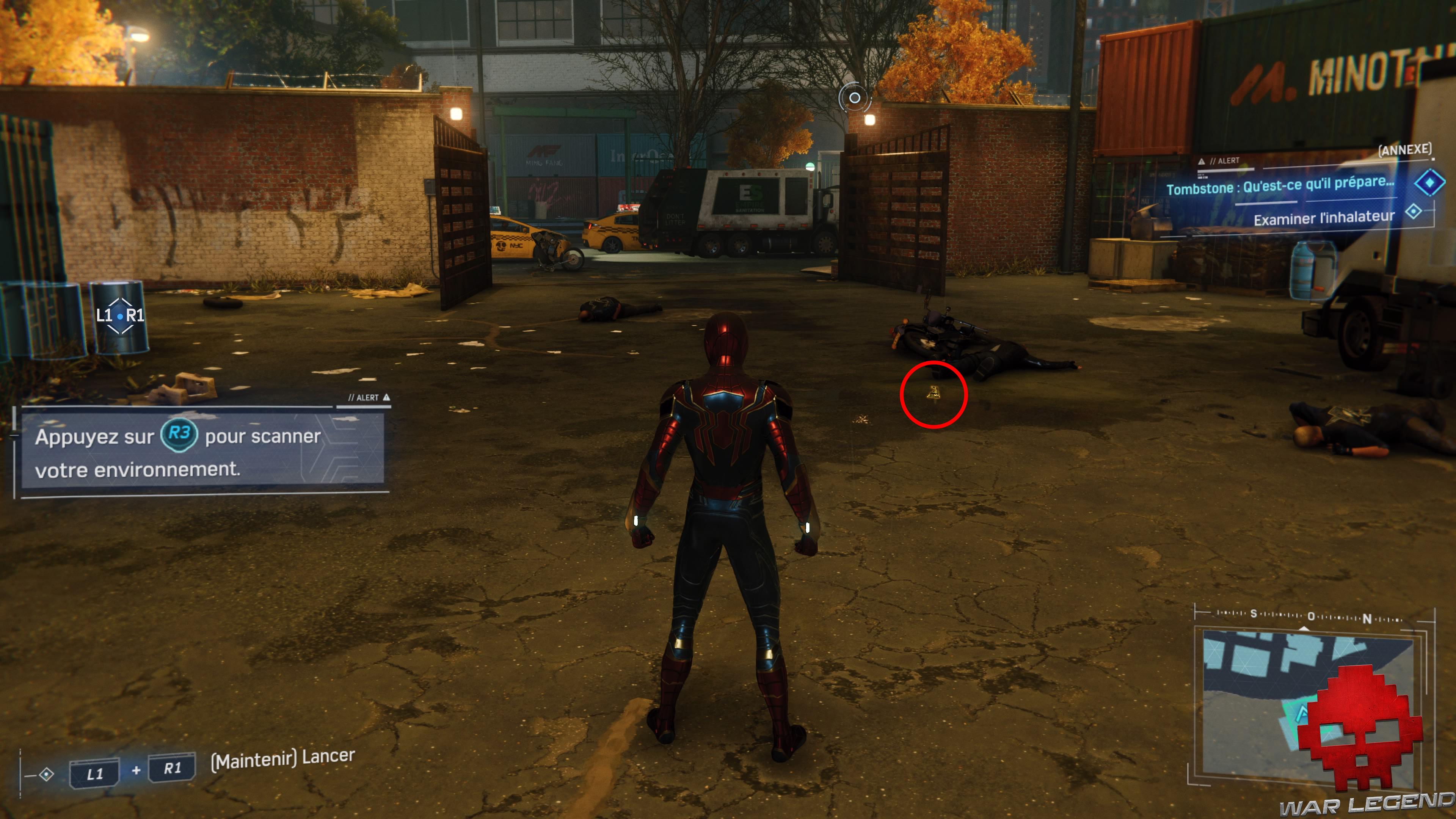 solution spider-man tombstone qu'est-ce qu'il prépare inhalateur au sol