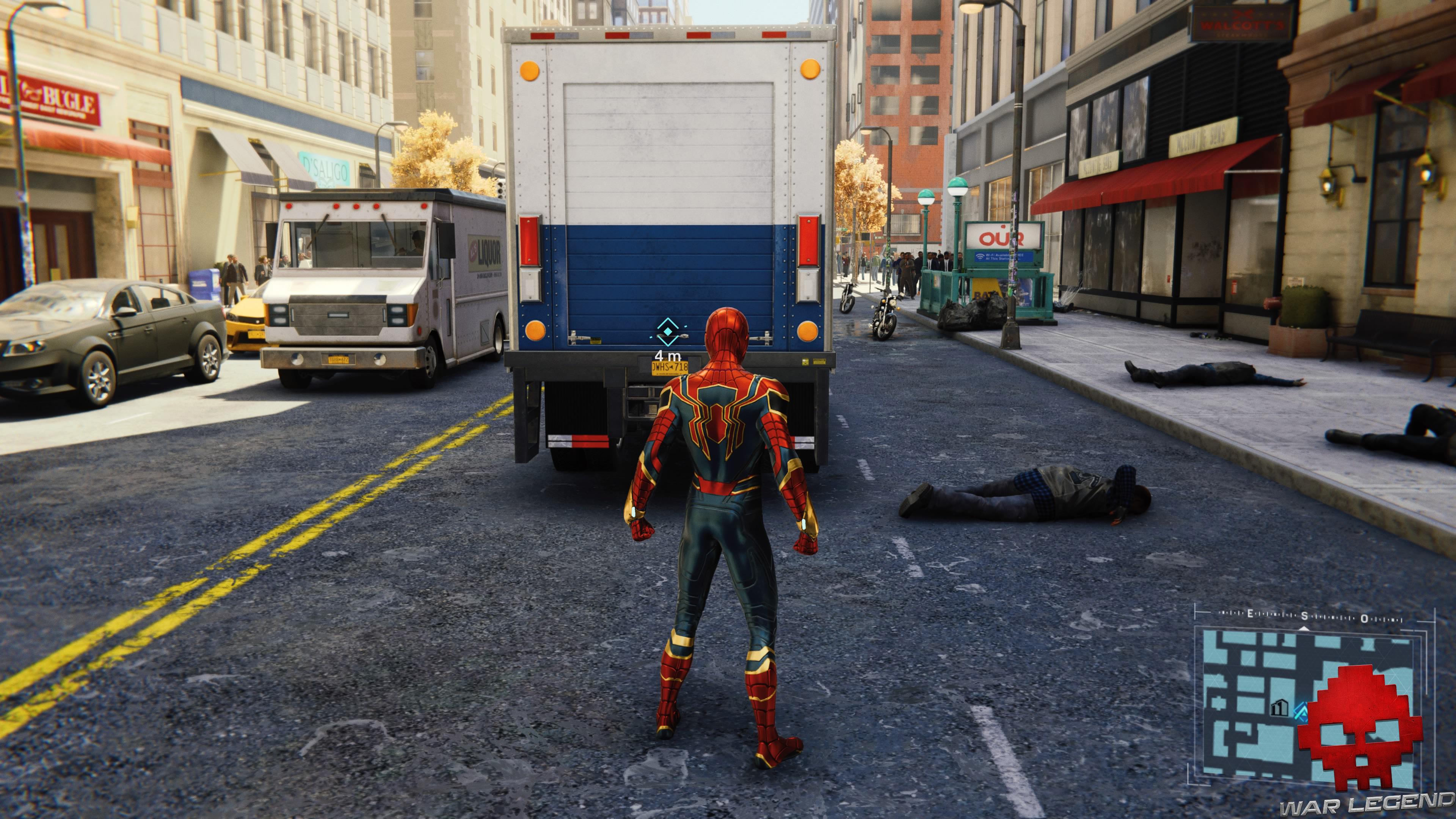 solution spider-man tombstone sur la brèche - spider-man derrière un camion