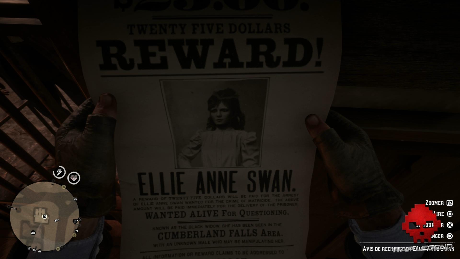 Soluce Red Dead Redemption 2 Avis de recherche d'Ellie Anne Swan
