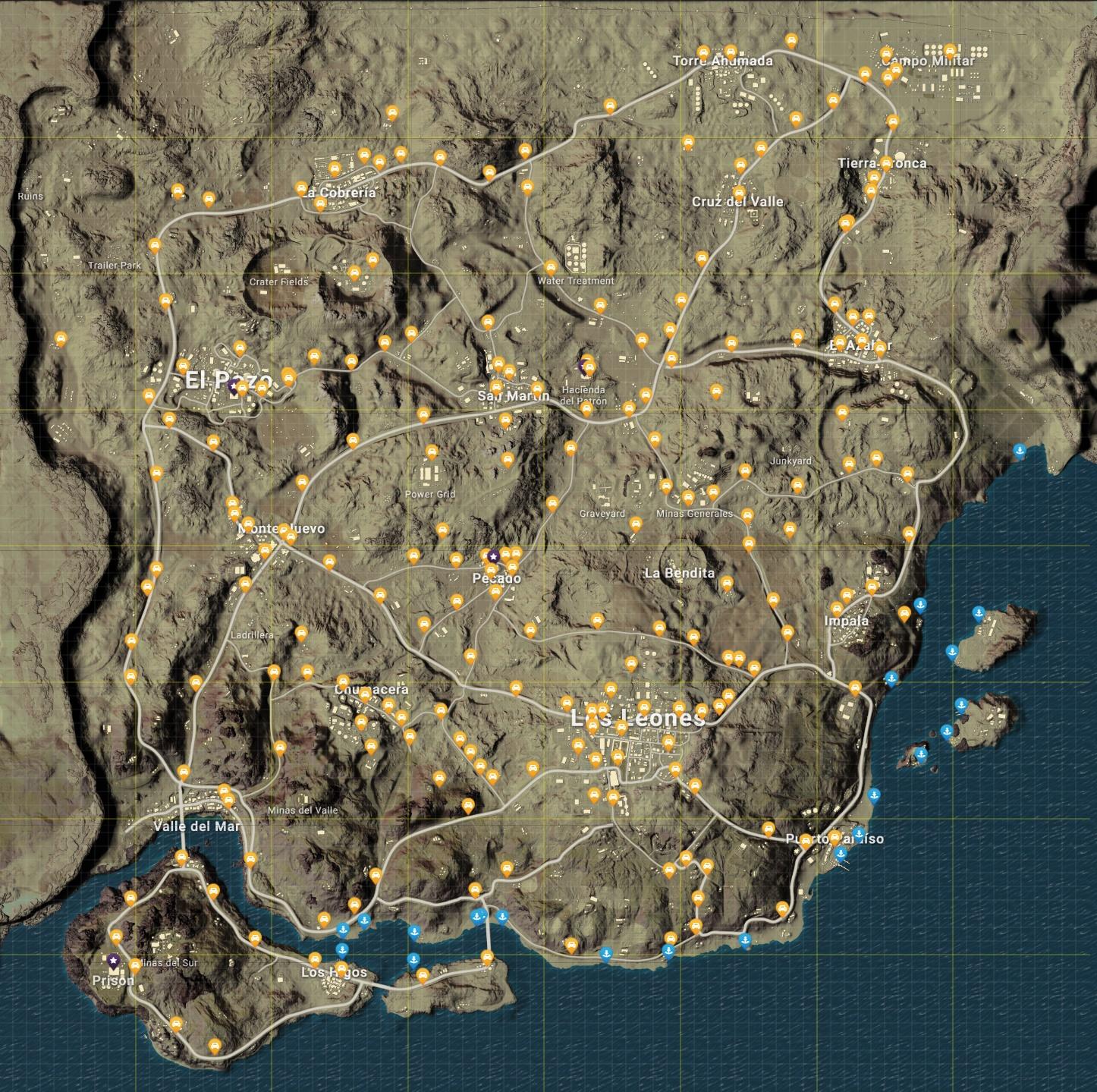 PUBG Guide Miramar, carte détaillée des points d'intérêt