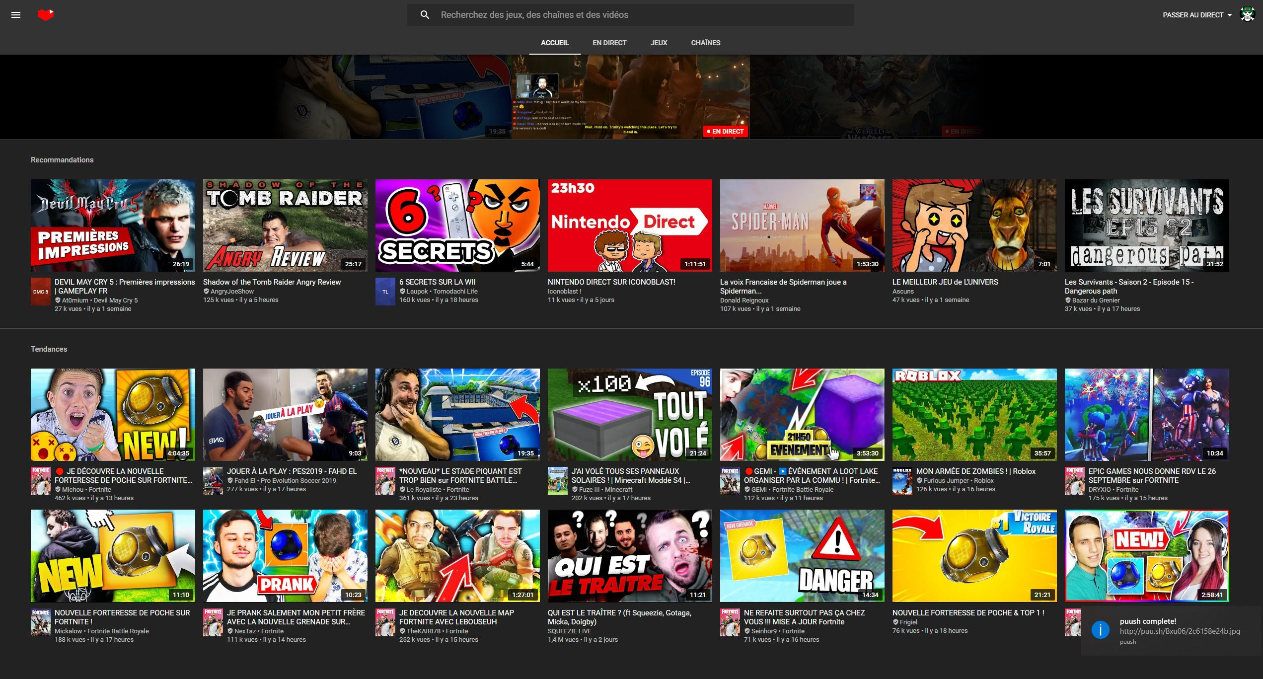screenshot accueil YouTube Gaming