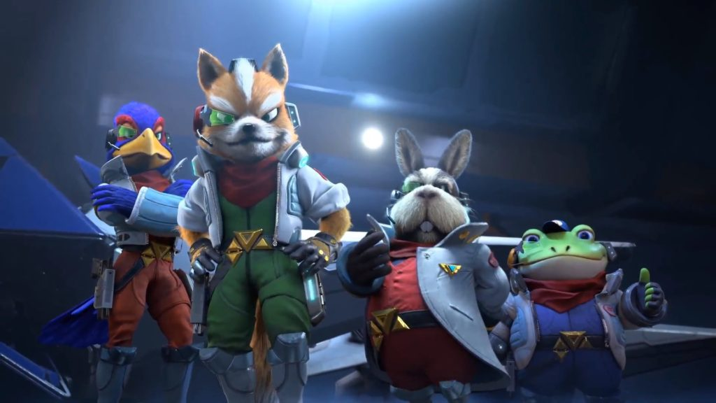 De gauche à droite : Falco, Fox, Peppy et Slippy dans Starlink: Battle for Atlas