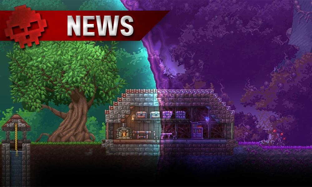 Terraria Otherworld - un miasme violet recouvre la partie droite du jeu