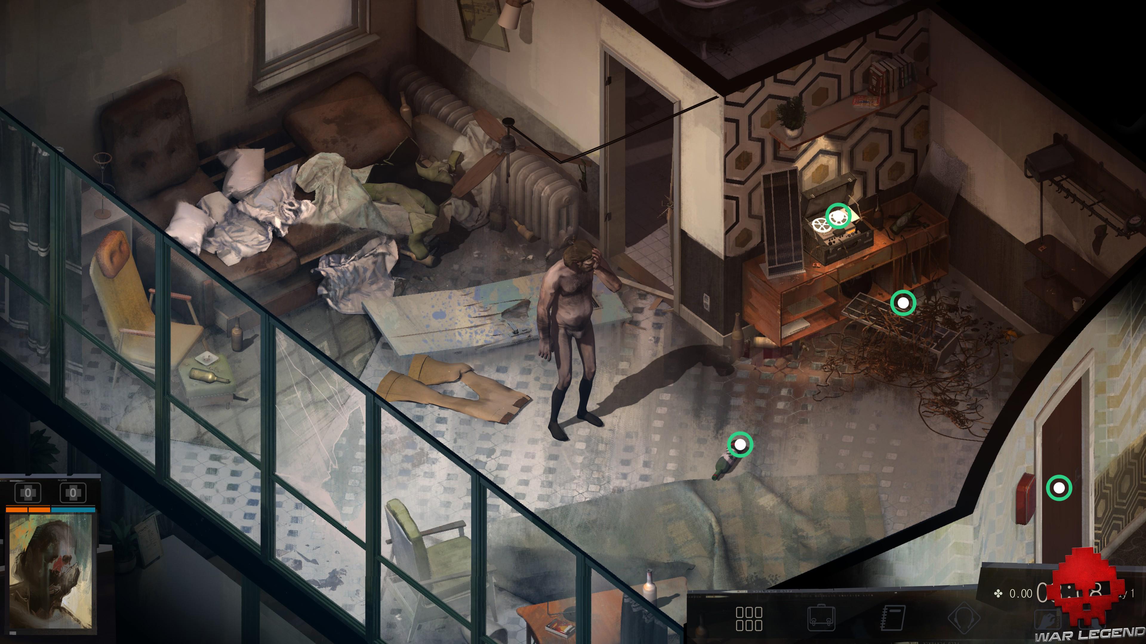 test Disco Elysium - héros nu au milieu de sa chambre