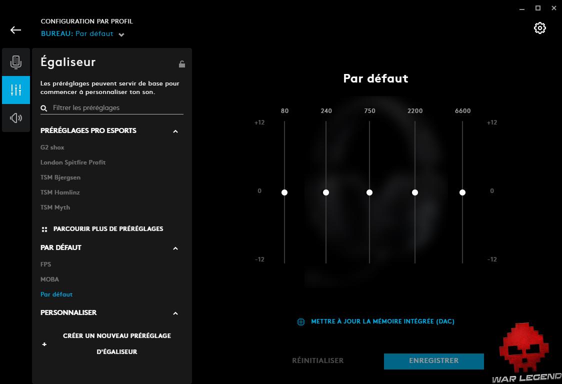 test logitech g pro x g hub écran égaliseur