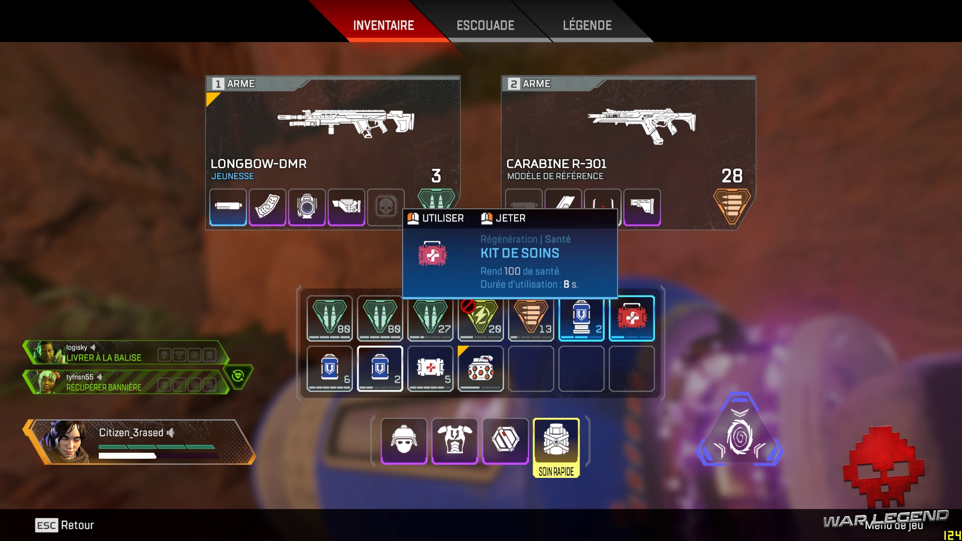 test Apex Legends - Inventaire