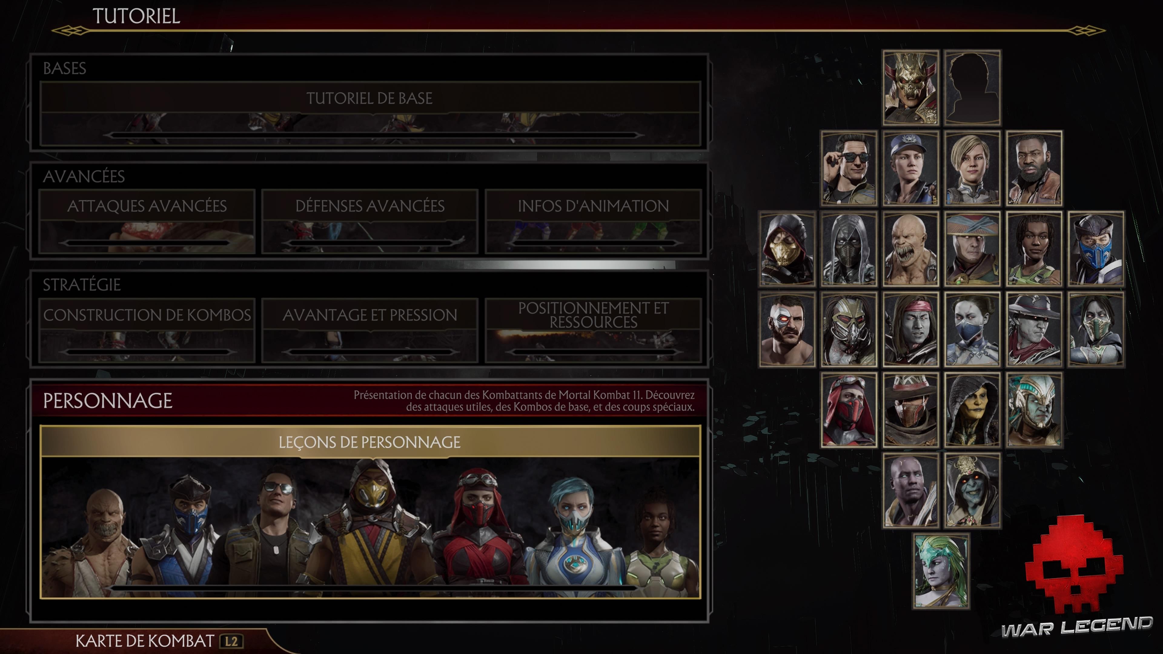 Test Mortal Kombat 11 - Menu du tutoriel
