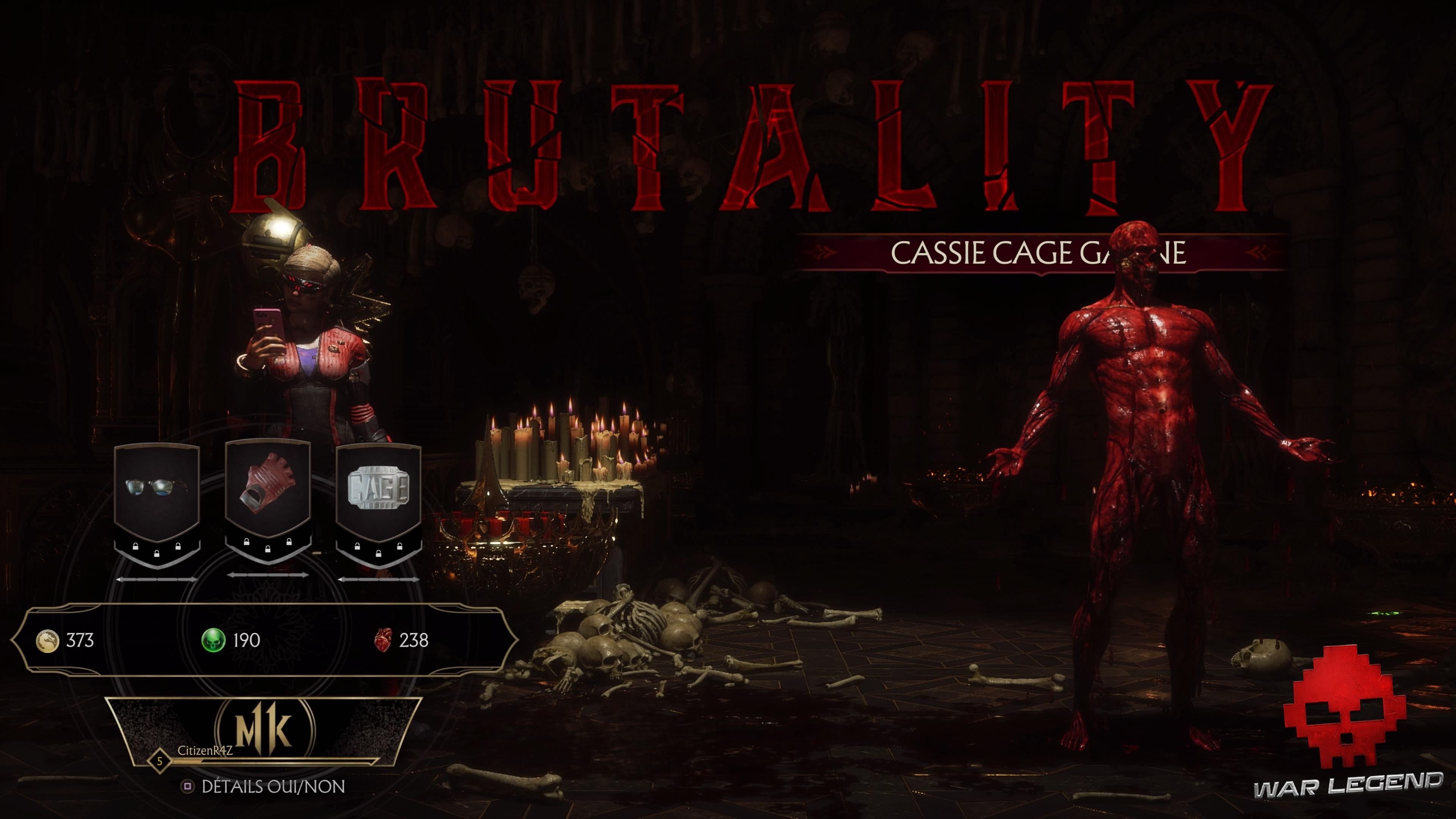 Test Mortal Kombat 11 - Brutality de Cassie Cage