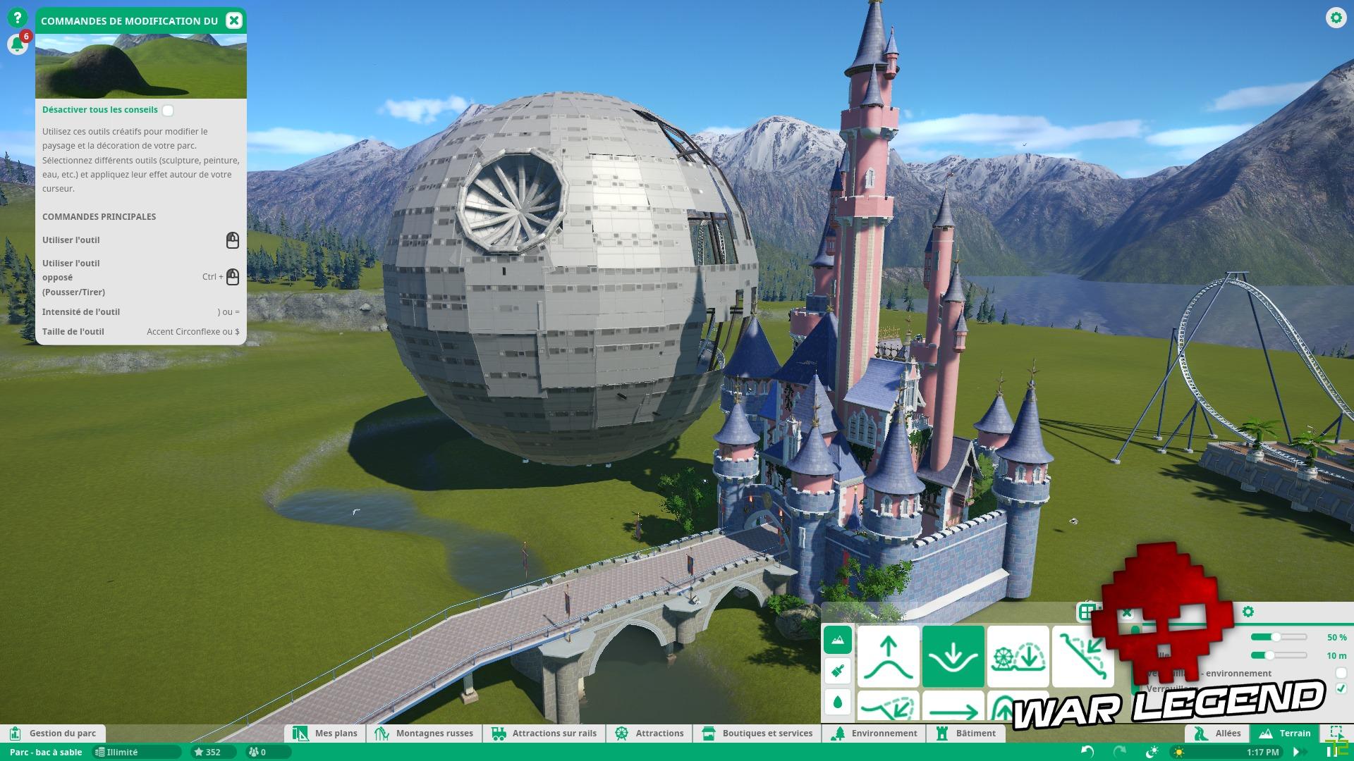 Test Planet Coaster - Quand la modernité transcende un vieux genre - Le château Disney à côté de l'étoile de la mort