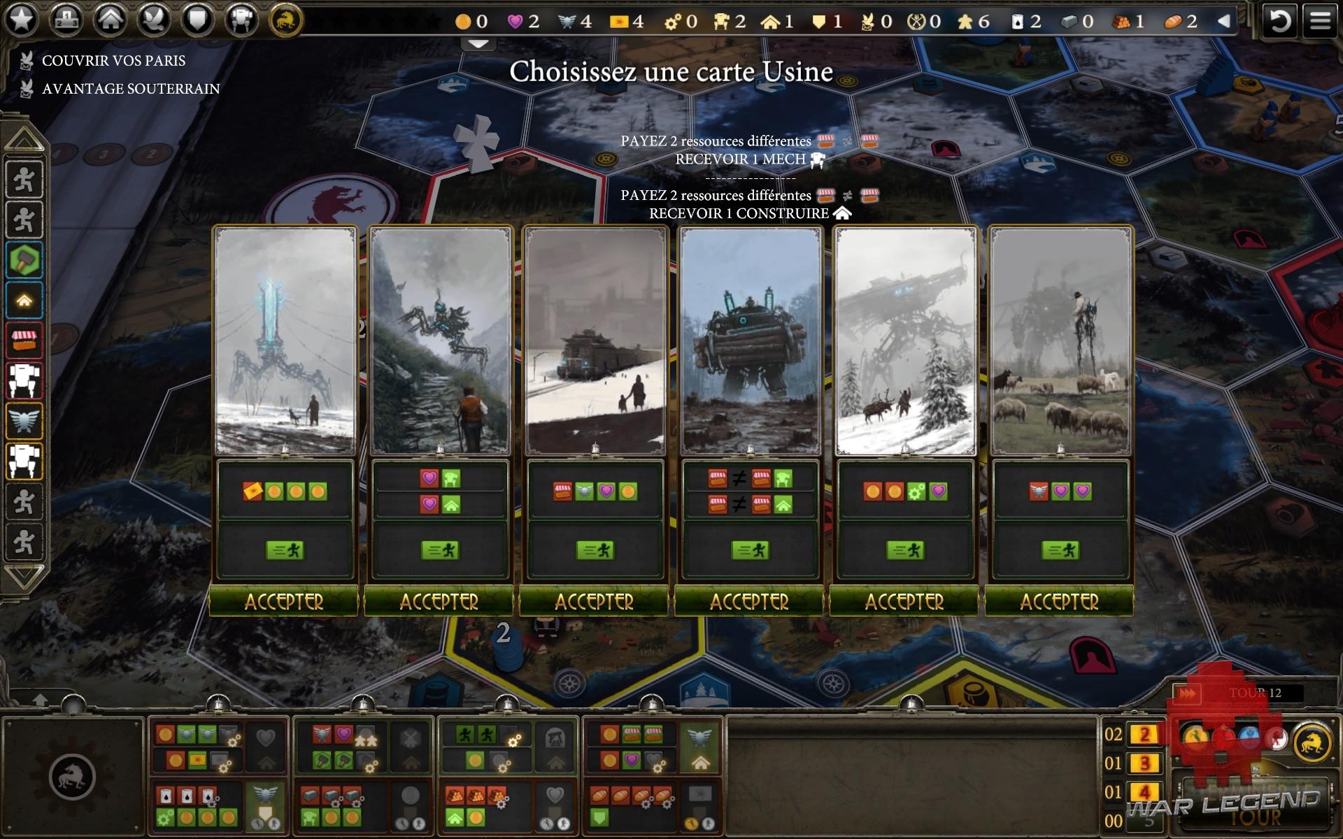 test Scythe: Digital Edition choix actions Usine