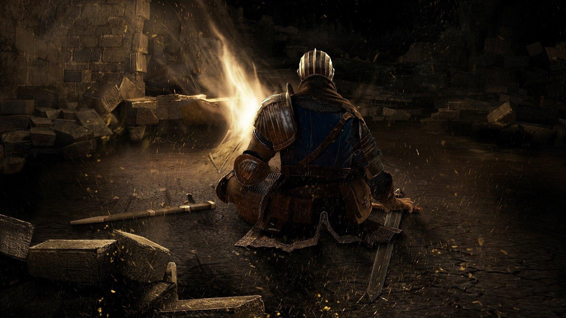 Dark Souls knight and bonfire