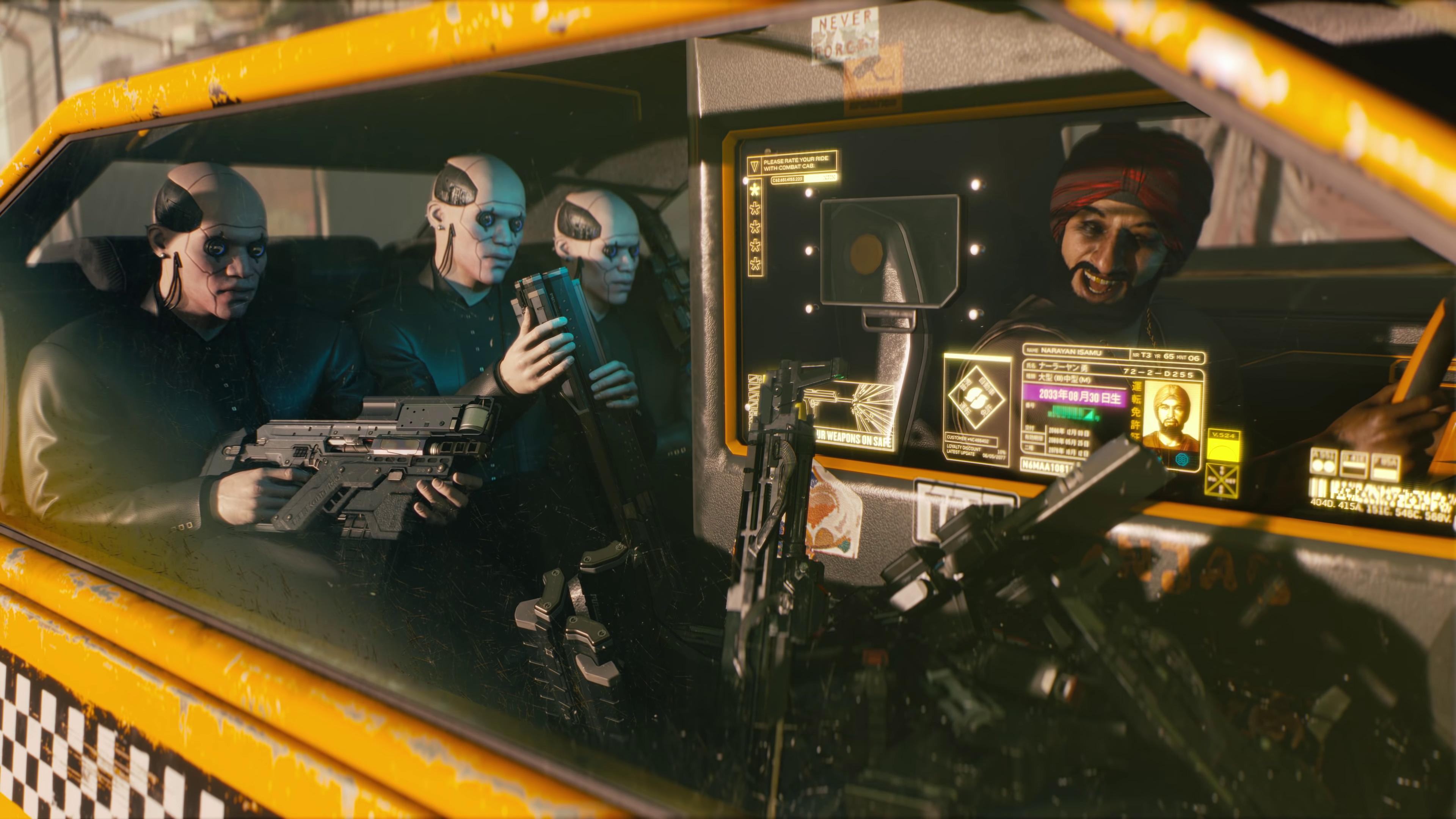 mercenaires dans un taxi