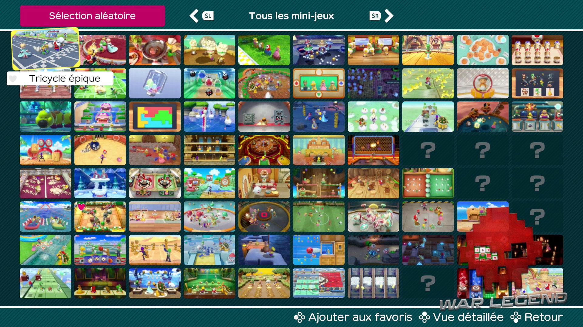Test Super Mario Party écran de sélection des mini-jeux