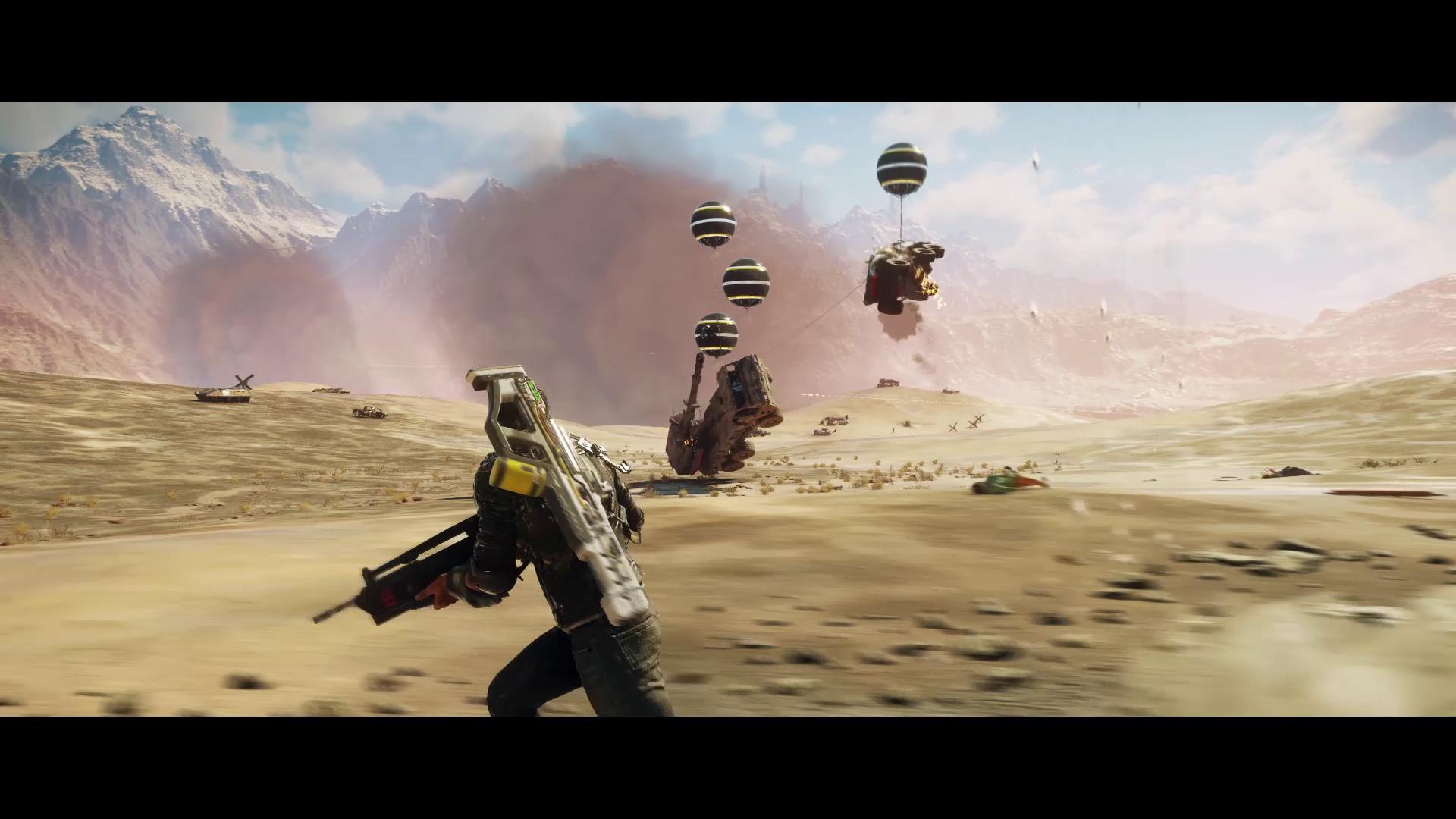 Aperçu Just Cause 4 Des véhicules ennemis s'envolent emportés par des ballons du grappin