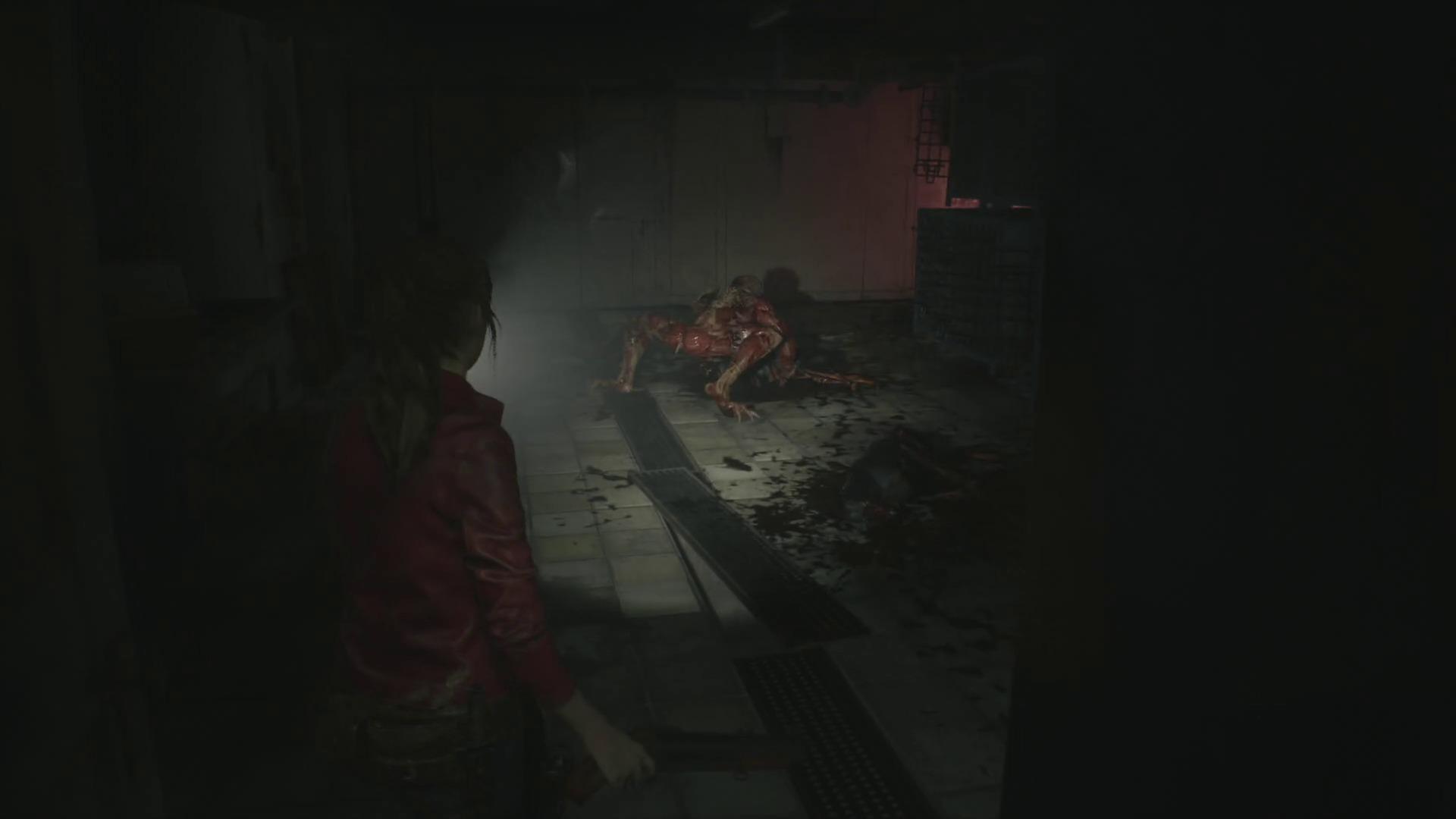 aperçu Resident Evil 2 Remake Claire Redfield surprend un Licker en train de manger