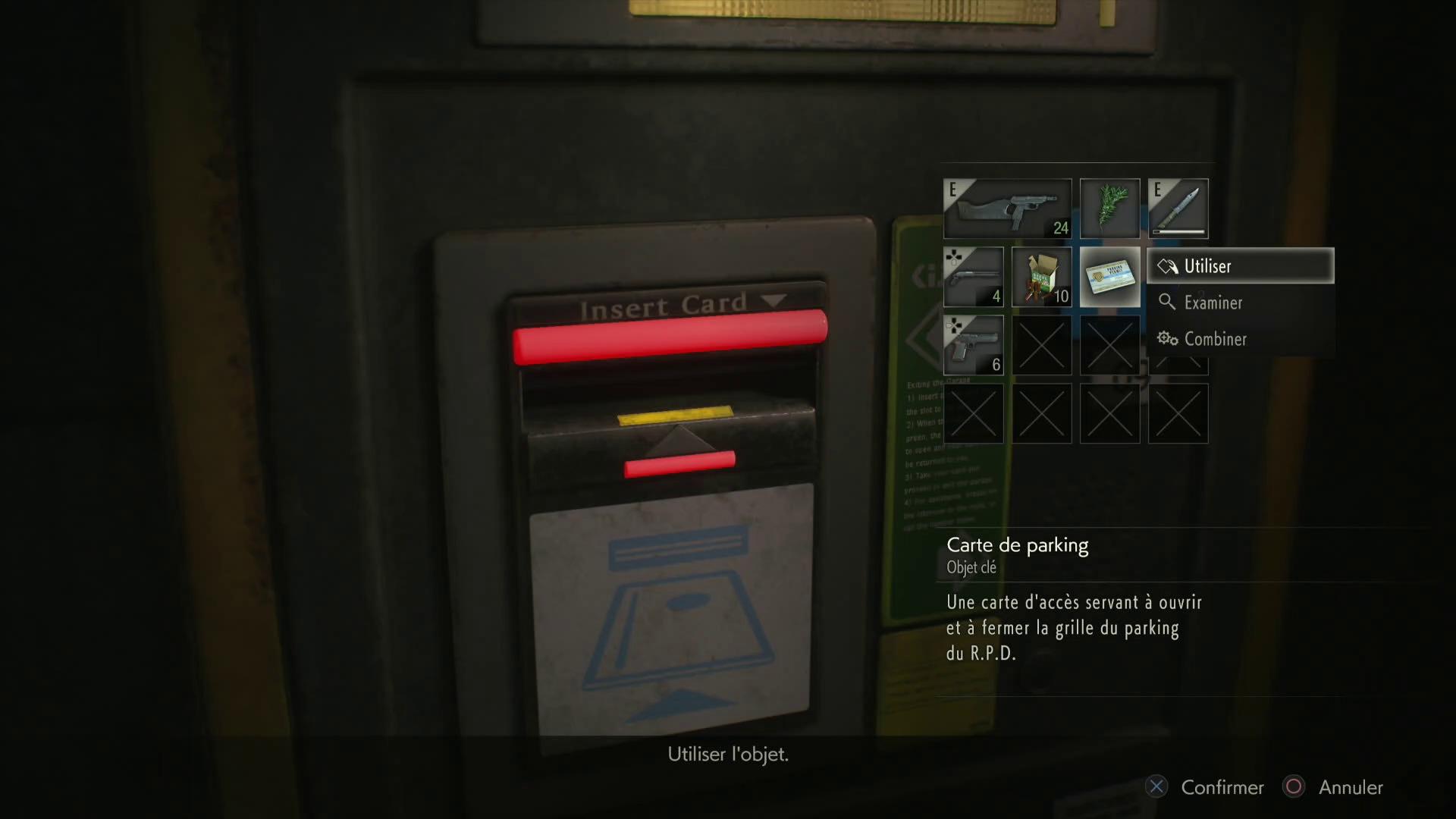 aperçu Resident Evil 2 Remake lecteur de carte du parking